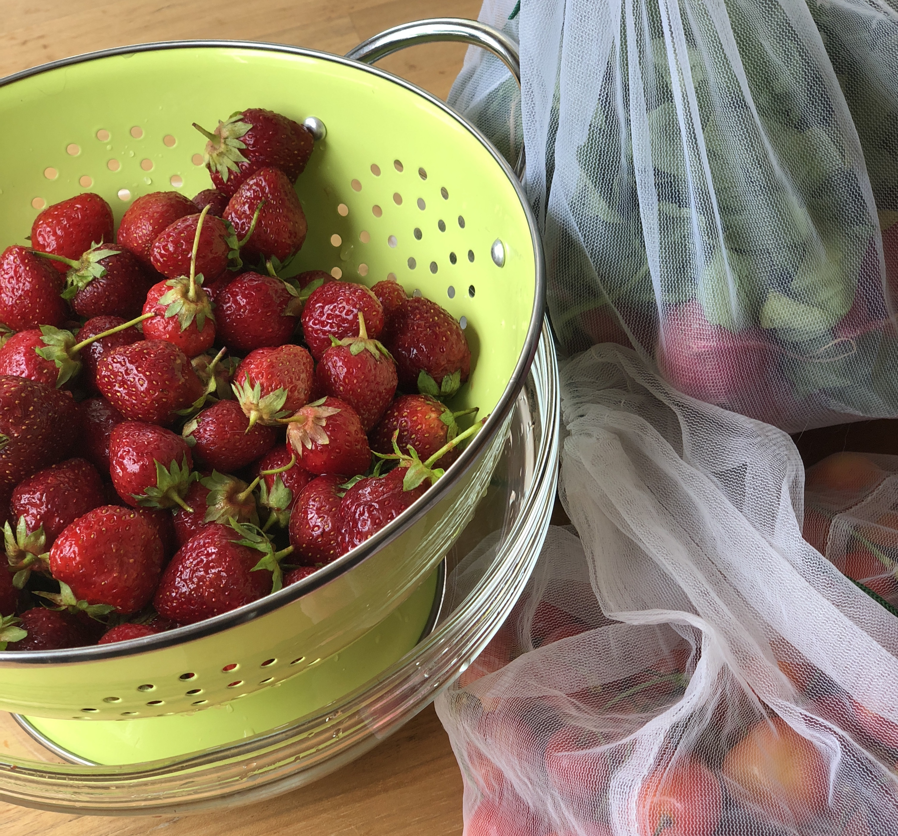 Locally grown strawberries, cherries, and radishes from the famers market